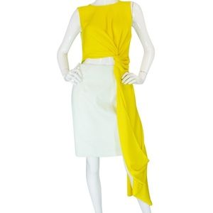 Roksanda Yellow Draped Colorblock Layton Dress